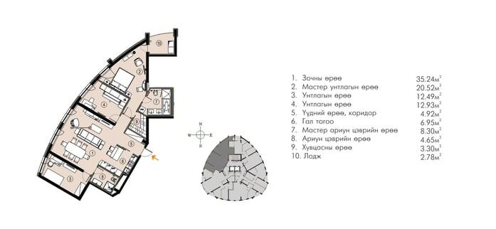 Ривер Гарден хотхон нэгдсэн төлөвлөлт ногоон байгууламж 118М2